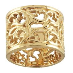 14k Gold Wide Filigree Unique Wedding Ring for Women