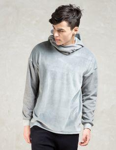 FACTOTUM Grey Fake Fur 2tone Sweat Hoodie