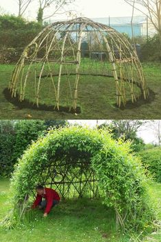 Japanese Garden DIY living functional garden decorations & low cost outdoor structures: magical grass sofa fun bean teepee beautiful grape & rose arches willow dome & fence etc! A Piece of Rainbow Unique Garden Decor, Unique Gardens, Amazing Gardens, Garden Decorations, Cool Garden Ideas, Rainbow Decorations, Diy Backyard Ideas, Garden Design Ideas, Outdoor Garden Decor