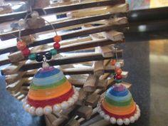 handmade rainbow  jhumkas  with hoop by chocolates and creativity corner