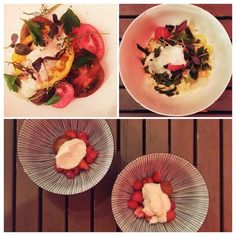 Heirloom tomatoes, fresh summer pasta and confit fig and strawberries with ricotta cream at FoodLab in #Montreal #italian #food #pasta #fresh #heirloom #summer #dessert  © Will Travel for Food