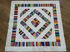 "BATIK ~ STRIP & Flip ~ Quilt Top 41 1/2"" X 49"" Made in NC - $48.00 