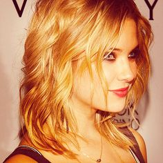 Ashley Benson's hair from the side.  Mid-length, layered, face-framing graduated pseudo-fringe at the front