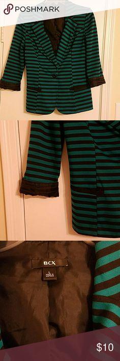 Womans  blazer Green and black blazer rolled sleeves 2 pockets BCX Jackets & Coats Blazers