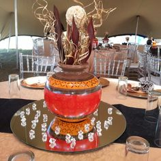 Beautiful ethnic pots, Zulu Wedding, Tree Wedding, Rustic Wedding, Zulu Traditional Wedding, Traditional Decor, Wedding Ceremony Decorations, Wedding Centerpieces, African Party Theme, Blaze Birthday Cake