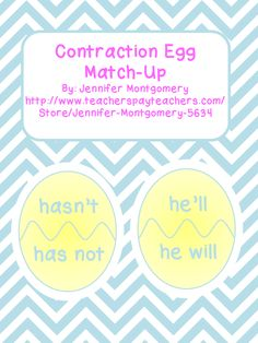 A great activity to use around Easter time or in the spring! Laminate and cut up each egg. Students can then have fun matching up the contractions. Includes numbers 24 contractions and worksheets where students rewrite the contractions and use each contraction in a sentence!