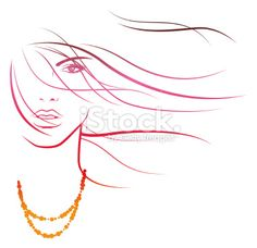 Summerbreeze in her Hair Royalty Free Stock Vector Art Illustration