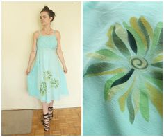 silk dress size XS S small romantic retro unigue summer dress