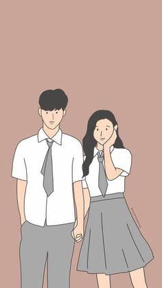 Desain tanpa judul - Sampul Buku Wattpad Cute Couple Drawings, Cute Couple Art, Anime Love Couple, Cute Anime Couples, Cute Drawings, Chibi Couple, Couple Cartoon, Couple Aesthetic, Aesthetic Anime