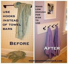 Swap out the towel bar for hooks hung low enough for kids to reach.- Swap out the towel bar for hooks hung low enough for kids to reach. Swap out the towel bar for hooks hung low enough for… - Organizing Your Home, Home Organization, Girls Bathroom Organization, Organizing Tips, Bathroom Kids, Bathroom Hooks, Bathroom Hardware, Design Bathroom, Bathroom Towels