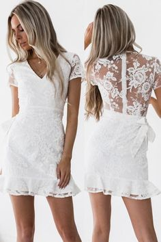 V-neck Lace Lush Mini Dress – Beetsweeti You are in the right place about senior Graduation Dress He Hoco Dresses, Sexy Dresses, Cute Dresses, Evening Dresses, Casual Dresses, White Homecoming Dresses, Shower Dresses, Fashion Week, Fashion Online