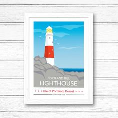 Portland Bill Lighthouse at Day Print by Tabitha Mary  £16.00–£105.00  Portland Bill Lighthouse; a famous landmark on the Isle of Portland off the coast of Dorset. Also available in Night.  I am inspired by the old railway posters, my prints are now available as digital prints, signed Giclee prints both with an option of framing.