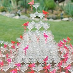 @bravotv  What could be more festive than a pink flamingo Champagne tower by @the.luke.wilson #Southerncharm