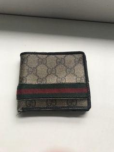 366d5489d85 Authentic Gucci Mens GG Supreme Web Bifold Canvas Wallet