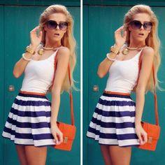 Casual Sleeveless Evening Party Beach Dress Short Mini Dress  #teen #fashion #outfits #ootd #cute #stylish #trend #dress #stripes