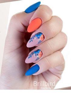 Matte blue and coral nails Diva Nails diva nails and havana Cute Acrylic Nails, Pastel Nails, Cute Nails, Pretty Nails, Coral Nail Art, Blue Nail, Spring Nails, Summer Nails, Stylish Nails