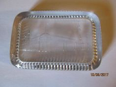 Vintage Antique Clear Glass Picture Paperweight Buckingham Palace Rectangular Desk Accessory by EvenTheKitchenSinkOH on Etsy