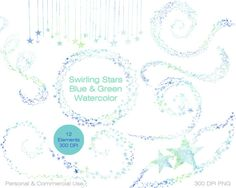 GREEN & BLUE WATERCOLOR Star Clipart Commercial Use by ClipArtBrat