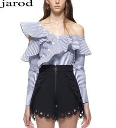 Blouses & Shirts Blouse Women Novelty Design Jacquard Fabrics Asymmetrical Off Shoulder Long Sleeves Casual Shirt New Fashion Style 2017
