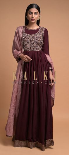 Maroon Anarkali Suit In Cotton With Embroidered Floral Jaal On The Bodice Online - Kalki Fashion Wedding Salwar Kameez, Bodice, Neckline, Full Sleeves, Salmon Color, Anarkali Suits, Indian Wear, Lehenga, Pakistani