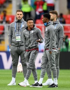 England players speak during a pitch inspection prior to the 2018 FIFA World Cup Russia Round of 16 match between Colombia and England at Spartak...