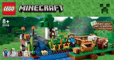 Though not slated for release until November, Mir Kubikov, a chain of franchise Lego stores in Russia has prematurely placed the new Minecraft sets in their online store. Though the images are not high resolution, all the pertinent set information is there including some great images of the new Minecraft minifigures.