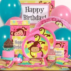 Monkey Love Party Perfect Package for 8, FREE shipping offer, 50% off tableware, and same day order processing from Birthday Direct - Monkey Love Party Supplies