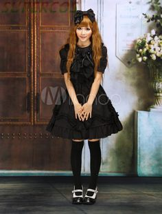 >> Click to Buy << Free shipping! New Arrivals! High quality! Black Short Sleeves Bows Cotton Gothic Lolita Dress #Affiliate