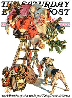 saturday evening post christmas covers | Santa Up a LadderJ. C. LeyendeckerDecember 20, 1930 Father Christmas, Noel Christmas, Vintage Christmas, Xmas, Christmas Cover, Whimsical Christmas, Vintage Santas, Christmas Scenes, Illustration Noel