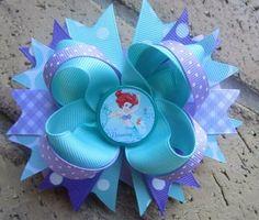 Disney Princess Ariel the Little Mermaid Custom Boutique Hair Bow for Disney World Vacation