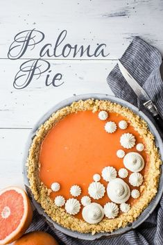 I made this Paloma Pie for Cinco de Mayo, and it was a huge hit! The tangy grapefruit-tequila filling was perfect with the crunchy saltine cracker crust. Definitely making this again, it's so nice for summer! ~ Baking a Moment Tart Recipes, Best Dessert Recipes, Fun Desserts, Sweet Recipes, Baking Recipes, Delicious Desserts, Grapefruit Tequila, Grapefruit Recipes, Pie Dessert