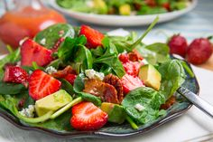 Strawberry and Avocado Spinach Salad in Raspberry Balsamic Vinaigrette Recipe : A fresh summer strawberry and baby spinach salad with avocado and bacon in a raspberry vinaigrette that just screams summer! Avocado Spinach Salad, Baby Spinach Salads, Spinach Strawberry Salad, Fruit Recipes, Salad Recipes, Healthy Recipes, Balsamic Vinaigrette Recipe, Low Sodium Recipes, Salad Ingredients
