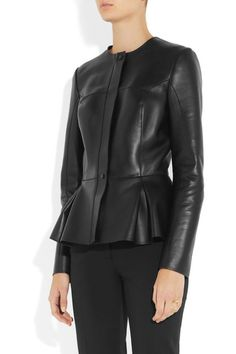 Black leather Pleated peplum, stretch-polyamide backing Concealed zip and snap fastenings through front 100% leather (Lamb); backing: 80% polyamide, 20% elastane Specialist clean