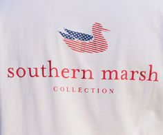 Southern Marsh LONG SLEEVE Authentic Flag Tee in White by Southern Marsh