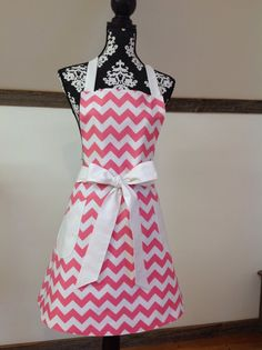 Pink and White Chevron with White Trim Retro Adult by LizzysBiz