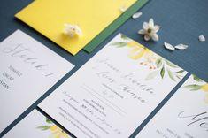 yellow wedding, menu, zaproszenie ślubne żółte kwiaty, miodunka papeteria, żółte dodatki na slub Wedding Stationery, Wedding Invitations, Wedding Invitation