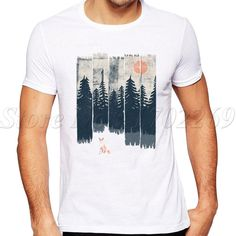 Fox in the Wild design Men T-Shirt Short Sleeve Fashion Retro Printed Tops