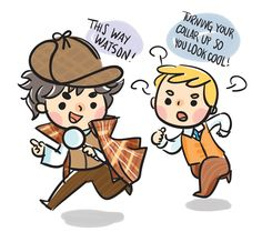 lots of doodles Sherlock Holmes Bbc, Sherlock John, Johnlock, Charlie Brown, Detective, Fan Art, Cool Stuff, Funny, Cute