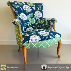 Repost from @sitzenhaus using @RepostRegramApp - We are absolutely mad about this vintage armchair upholstered in @madcapcottage's collection from @robertallendesign! Now available in our shop or email to purchase online! #madcapcottage #robertallendesign #color #pattern #floral #lattice #vintage