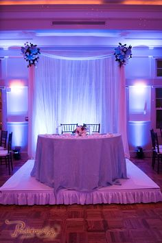 Simple stage, pipe and drape and white uplighting for a simple sweetheart table Wedding Spot, Wedding Stage, Purple Wedding, Wedding Tips, Dream Wedding, Wedding Fun, Luxury Wedding, Wedding Colors, Wedding Reception