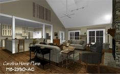 images of midsize country style wrap-around porch house plan with open floor plan, ideal for families, view images to easily visualize this home plan with house plan views. Custom Floor Plans, Open Floor House Plans, 3d House Plans, Porch House Plans, House With Porch, Cottage House Plans, Country Style House Plans, Country Style Homes, Cottage Style