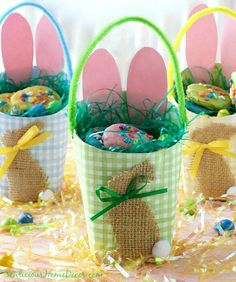 Easter Egg Paper Baskets made from Arby's containers | http://sewlicioushomedecor.com