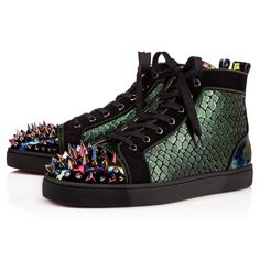 Shop Christian Louboutin Lou Pik Pik Orlato Patent Stellar Multicolor Canvas - Men Shoes - from stores. Trendy Mens Shoes, Mens Fashion Shoes, Fashion Heels, Sneakers Fashion, Christian Louboutin Outlet, Christian Dior, Red Bottoms Sneakers, White Sneakers, Red Louboutin