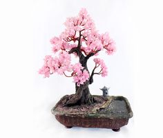 Spring flowering bonsai tree, pink, beads, Japanese style, pagoda, pond, gift for girls and women. $180.00, via Etsy.