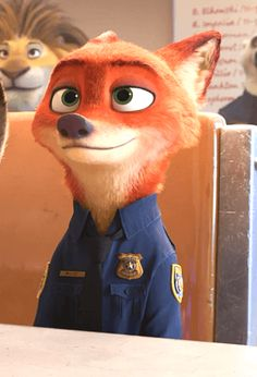 Officer Nick Wilde, I was so happy that he became a Zootopia Police Department Officer. Disney Pixar, Arte Disney, Disney Cartoons, Disney And Dreamworks, Disney Magic, Disney Movies, Disney Characters, Zootopia Nick Wilde, Zootopia Nick And Judy