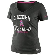 Nike Kansas City Chiefs Women's Breast Cancer Awareness Team V-Neck T-Shirt - Anthracite