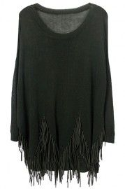 ROMWE Asymmetric Tassels Long Sleeved Sheer Black Jumper
