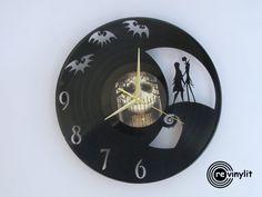 Reloj de pared de discos de vinilo, pesadilla antes de Navidad, Disney, Tim Burton, vinilo reloj, reloj de registro