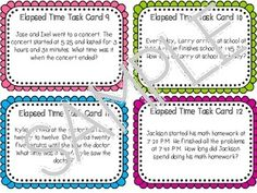 Elapsed Time Task Cards with Cooperative Learning Games for Task Cards (CCSS)
