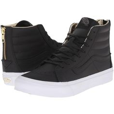 Vans SK8-Hi Slim Zip Black/Gold) Skate Shoes ($80) ❤ liked on Polyvore featuring shoes, sneakers, gold high top sneakers, gold sneakers, gold shoes, black sneakers and black hi top sneakers